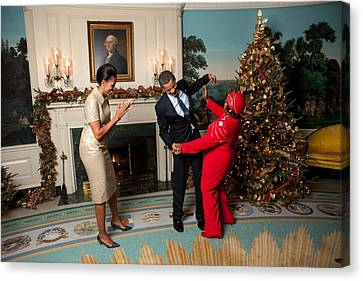 Michelle Obama Canvas Print - President And Michelle Obama Greet by Everett