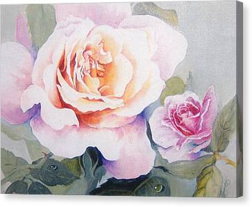 Roses And Waterdroplets Canvas Print