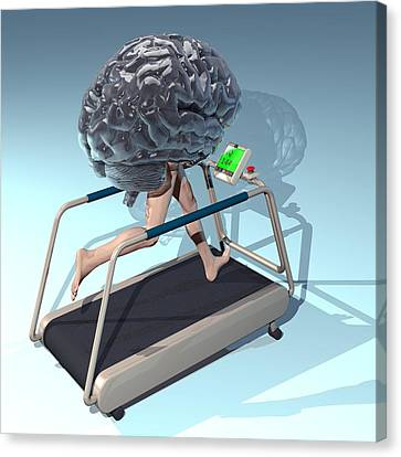 Running Brain, Conceptual Artwork Canvas Print by Laguna Design