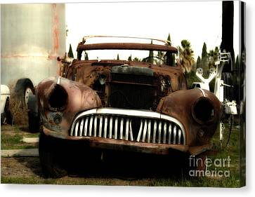 Brentwood Canvas Print - Rusty Old American Car . 7d10343 by Wingsdomain Art and Photography