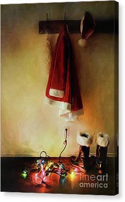 Santa Costume Hanging On Coat Hook /digital Painting  Canvas Print by Sandra Cunningham