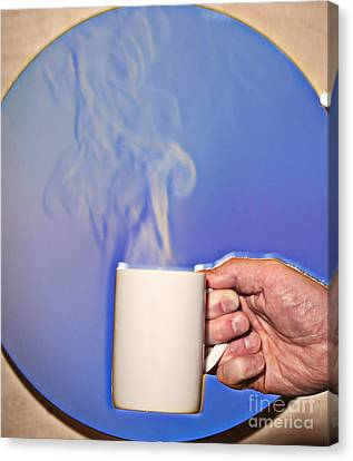 Schlieren Image Of Hot Coffee Cup Canvas Print by Ted Kinsman