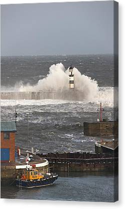 Seaham, Teesside, England Waves Canvas Print by John Short