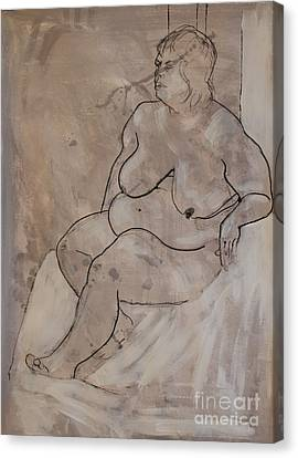 Seated Female Nude Canvas Print by Joanne Claxton