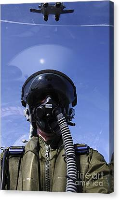 Self-portrait Of A Pilot Flying Canvas Print by Daniel Karlsson