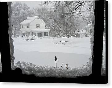 Snow Covers The Streets Canvas Print by Stacy Gold
