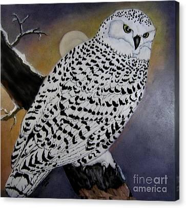 Snowy Owl And Moon Canvas Print by Sandra Maddox