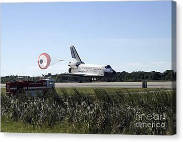 Space Shuttle Atlantis Unfurls Its Drag Canvas Print by Stocktrek Images