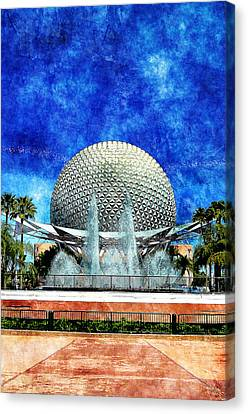 Canvas Print featuring the digital art Spaceship Earth And Fountain Of Nations by Sandy MacGowan
