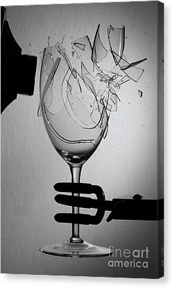 Speaker Breaking A Glass With Sound Canvas Print by Ted Kinsman