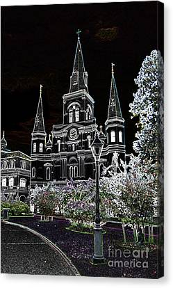 St Louis Cathedral Jackson Square French Quarter New Orleans Glowing Edges Digital Art  Canvas Print by Shawn O'Brien