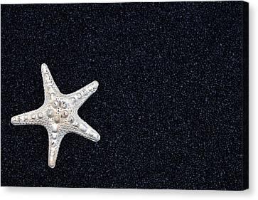 Starfish On Black Sand Canvas Print by Joana Kruse
