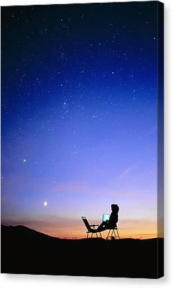 Starry Sky And Stargazer Canvas Print by David Nunuk