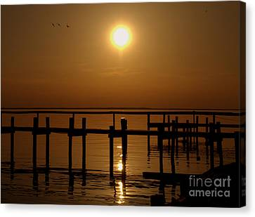 Sunset At Cobb Island Canvas Print by Ursula Lawrence