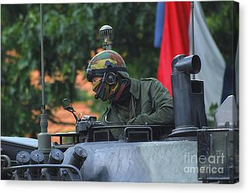 Tank Commander Of A Leopard 1a5 Mbt Canvas Print by Luc De Jaeger
