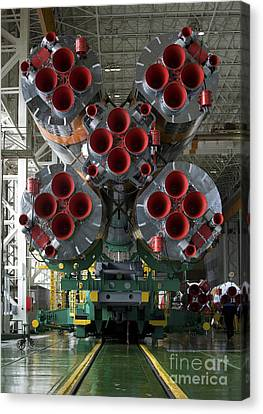 The Boosters Of The Soyuz Tma-14 Canvas Print by Stocktrek Images
