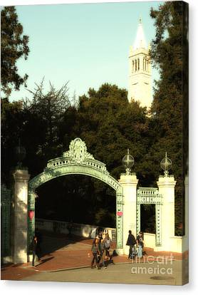 Uc Berkeley . Sproul Plaza . Sather Gate And Sather Tower Campanile . 7d10027 Canvas Print by Wingsdomain Art and Photography