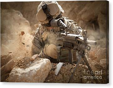 U.s. Army Ranger In Afghanistan Combat Canvas Print by Tom Weber