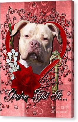 Valentines - Key To My Heart Pitbull Canvas Print by Renae Laughner