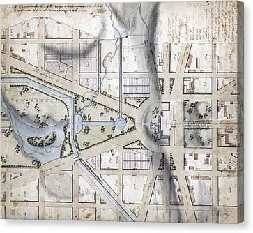 Washington, D.c. Map Showing Canvas Print by Everett