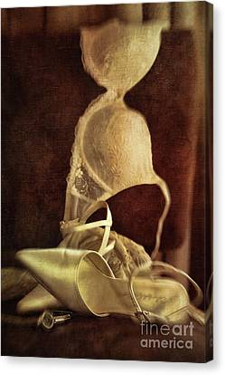 Wedding Shoes And Under Garments On Chair Canvas Print by Sandra Cunningham