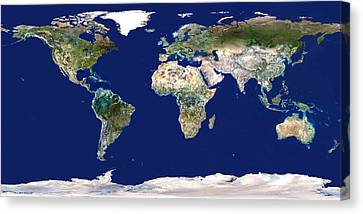 Whole Earth Map Canvas Print by Planetobserver