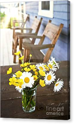 Chair Canvas Print - Wildflowers Bouquet At Cottage by Elena Elisseeva