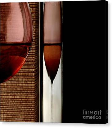 Glass Bottle Canvas Print - Wine by HD Connelly