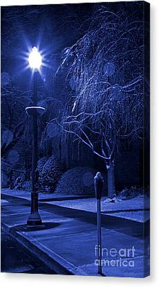 Winter Sidewalk Blues Canvas Print by John Stephens