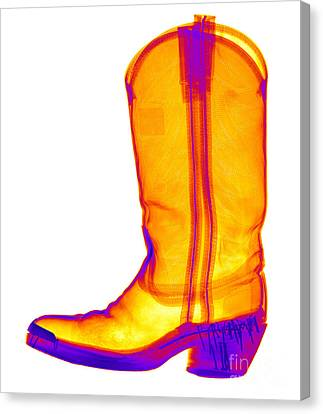 X-ray Of A Cowboy Boot Canvas Print by Ted Kinsman