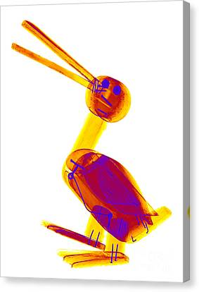 X-ray Of A Wooden Duck Toy Canvas Print by Ted Kinsman