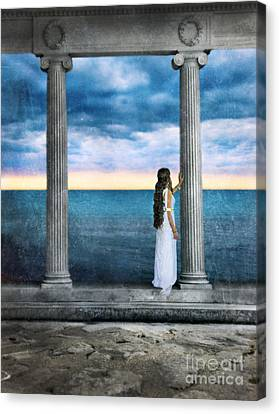 Young Woman As A Classical Woman Of Ancient Egypt Rome Or Greece Canvas Print by Jill Battaglia