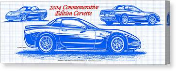 2004 Commemorative Edition Corvette Blueprint Canvas Print by K Scott Teeters