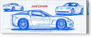 2008 Corvette Blueprint Canvas Print by K Scott Teeters