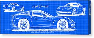 2008 Corvette Reverse Blueprint Canvas Print by K Scott Teeters