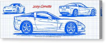 2009 C6 Corvette Blueprint Canvas Print by K Scott Teeters