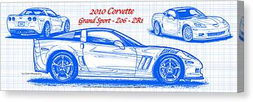 2010 Corvette Grand Sport - Z06 - Zr1 Blueprint Canvas Print by K Scott Teeters