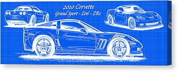 2010 Corvette Grand Sport - Z06 - Zr1 Reverse Blueprint Canvas Print by K Scott Teeters
