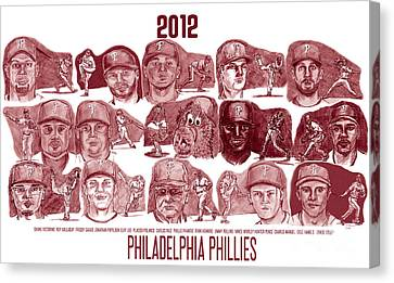 Phigtin Phils Canvas Print - 2012 Philadelphia Phillies by Chris  DelVecchio