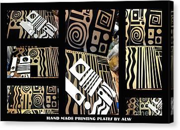 Cardboard Canvas Print - 2012 Studio Play - Handmade Printing Plates by Angela L Walker