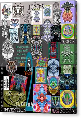 25th Anniversary Collector's Poster By Upside Down Artist And Inventor L R Emerson II Canvas Print by L R Emerson II