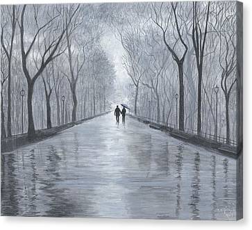 A Walk In The Park In Black And White Canvas Print