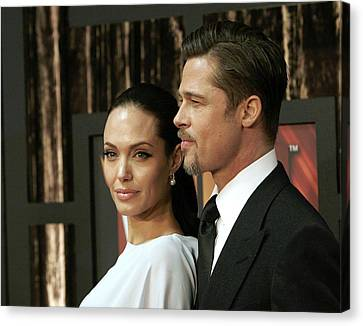 Angelina Jolie, Brad Pitt At Arrivals Canvas Print by Everett