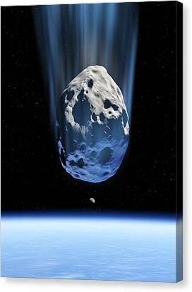 Asteroid Approaching Earth, Artwork Canvas Print by Detlev Van Ravenswaay