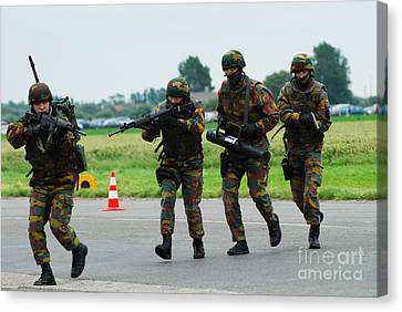 Belgian Paracommandos Entering Canvas Print by Luc De Jaeger