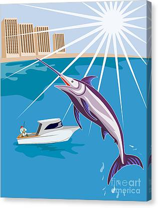 Blue Marlin Fish Jumping Retro Canvas Print by Aloysius Patrimonio