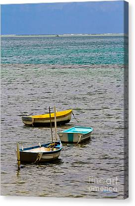 Canvas Print featuring the photograph 3 Boats by Mitch Shindelbower