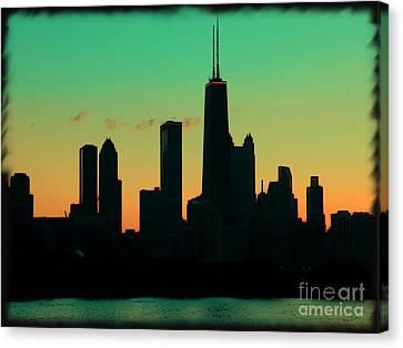Chicago Skyline Cartoon Canvas Print by Sophie Vigneault