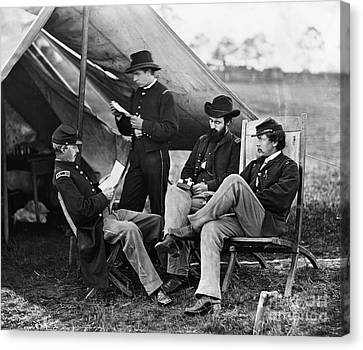 Civil War: Union Officers Canvas Print by Granger