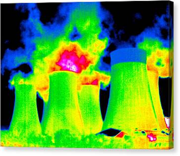 False Power Canvas Print - Cooling Towers, Thermogram by Tony Mcconnell